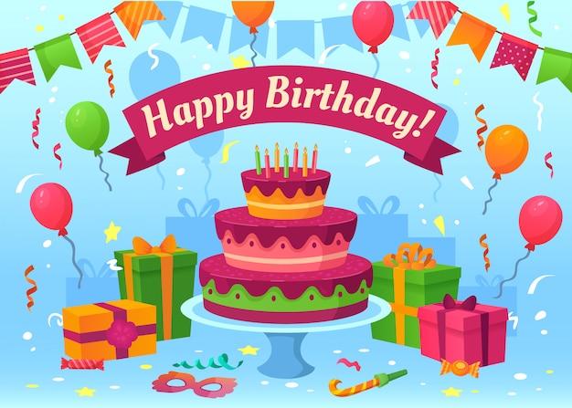 Karta urodzinowa kreskówka. prezenty na uroczystości, flagi i balony urodzinowe. ilustracja latające konfetti kartki z życzeniami