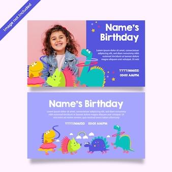 Karta urodzinowa księżniczki dinozaura
