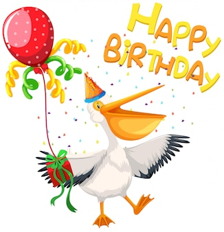 Karta urodzinowa pelikana z okazji urodzin