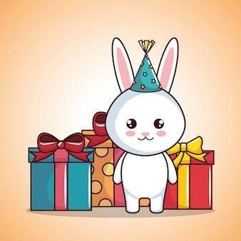 Karta urodzinowa z cute królika