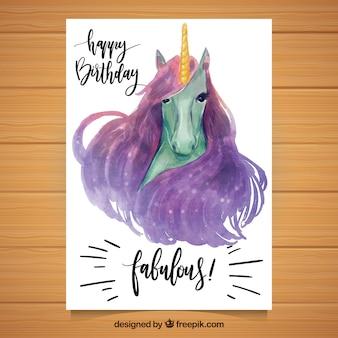 Karta urodzinowa z jednorożca akwarela