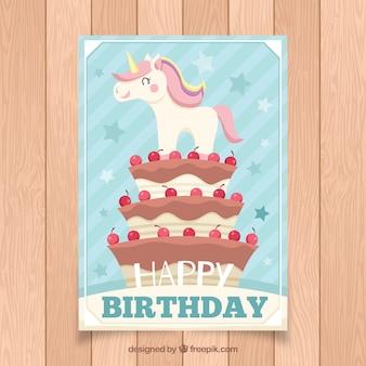 Karta urodzinowa z jednorożca na tort