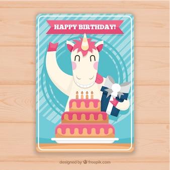 Karta urodzinowa z płaskim jednorożcem