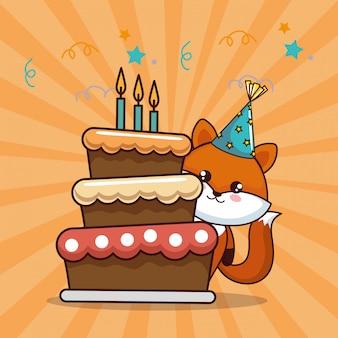 Karta urodzinowa z uroczym lisem