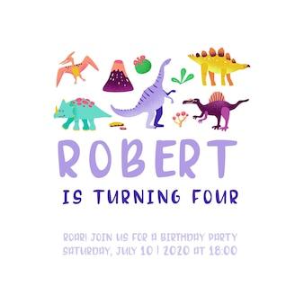 Karta urodzinowa z zabawnym dinozaurem, ogłoszenie przybycia dino, pozdrowienia w ilustracji wektorowych