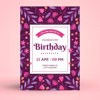 Karta urodzinowa / zaproszenie kwiatowy szablon