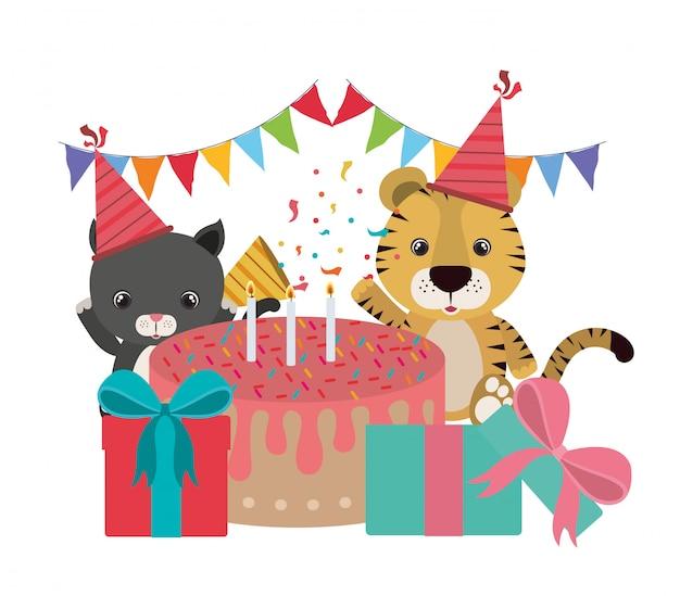 Karta urodzinowa ze zwierzętami