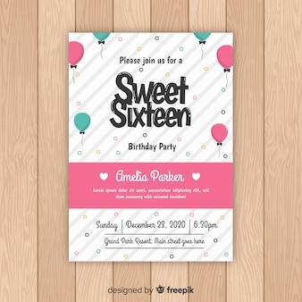 Karta urodziny 16 balonów