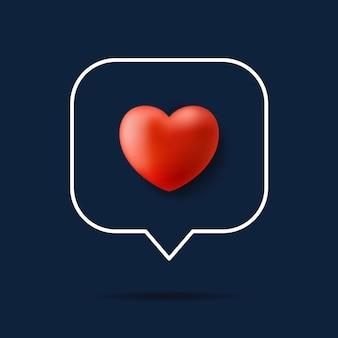 Karta valentine realistyczne czerwone serce.