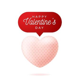 Karta valentine realistyczne różowe serce, ilustracja na białym tle.