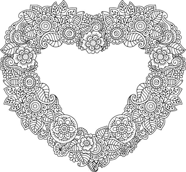 Karta w kształcie serca z kwiatami kolorowanka na zaproszenia ślubne dla dorosłych walentynki