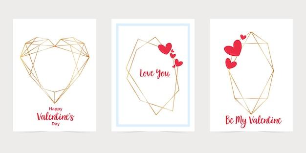 Karta walentynkowa ze złotymi sześciokątnymi ramkami. kocham cię kopertę na karty papierowe.