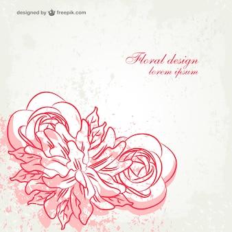Karta wektor grunge rose