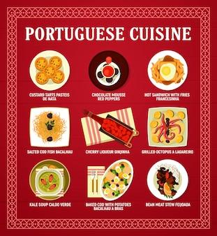 Karta wektor menu kuchni portugalskiej z daniami mięsnymi, owocami morza i warzywami. dorsz rybny bacalhau, gulasz z fasoli feijoada i tart pasteis, zupa caldo verde, mus czekoladowy i kanapka z frytkami