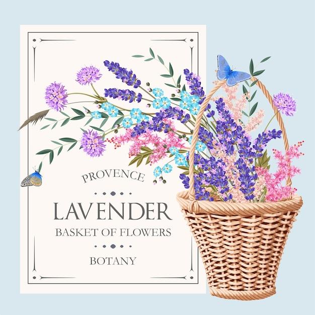 Karta wektor z koszem i kwiatami