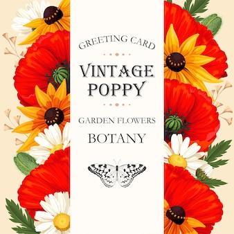 Karta wektor z kwiatami łąkowymi