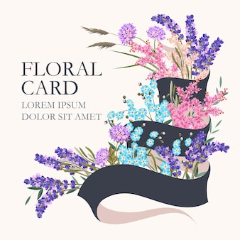 Karta wektor z kwiatami