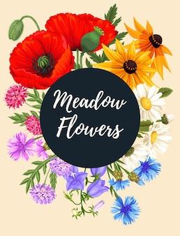 Karta wektor z kwiatem łąkowym