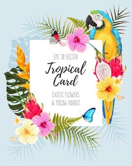 Karta wektor z tropikalnymi kwiatami i ara
