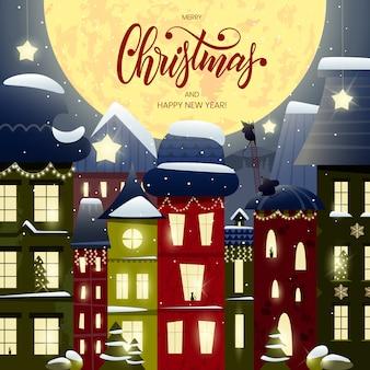 Karta wesołych świąt i szczęśliwego nowego roku z napisem i bajecznym miastem, domy ozdobione girlandami, śmieszne myszy