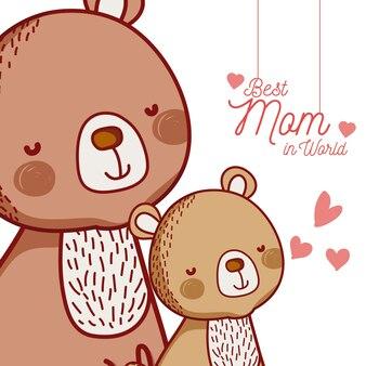 Karta wiadomości matki z kreskówek zwierząt