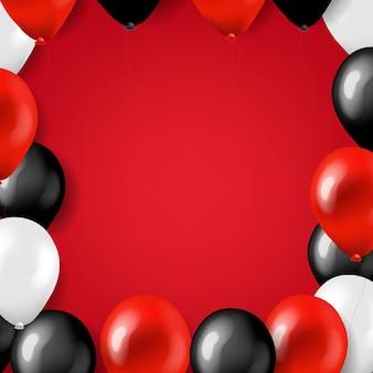 Karta wielkiej sprzedaży w czarny piątek z balonami z siatką gradientową,