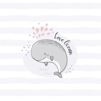 Karta wieloryb postać z kreskówki. ręcznie rysowane oceanu zwierząt