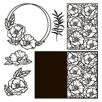 Karta wieniec maków monochromatyczne wesele kolekcja z kwiatów i kartkę z życzeniami ażurowe kontury do cięcia i drukowania kreskówka clipartów wektor zestaw ilustracji