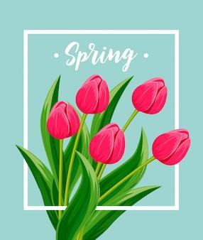 Karta wiosna z kwitnących tulipanów