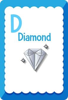 Karta z alfabetem z literą d dla diamentu