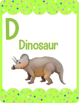 Karta z alfabetem z literą d dla dinozaura