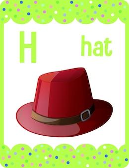 Karta z alfabetem z literą h dla hat