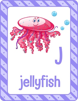 Karta z alfabetem z literą j dla meduzy