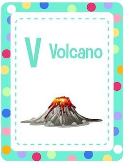 Karta z alfabetem z literą v dla wulkanu