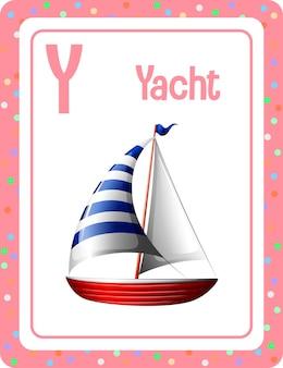 Karta z alfabetem z literą y dla jachtu