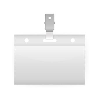 Karta z ampty plakietką na białym tle. . pusta wizytówka.
