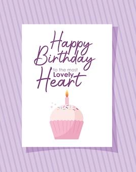 Karta z babeczką z okazji urodzin do najpiękniejszego napisu serca na fioletowym projekcie ilustracji