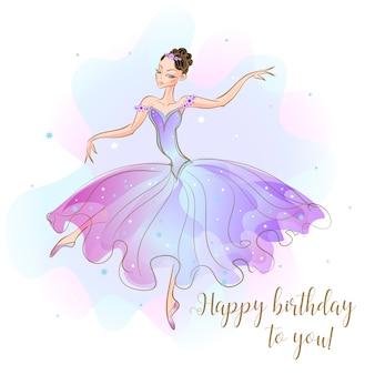 Karta z baletnicą księżniczką