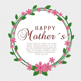 Karta z egzotycznymi kwiatami i liśćmi na dzień matki