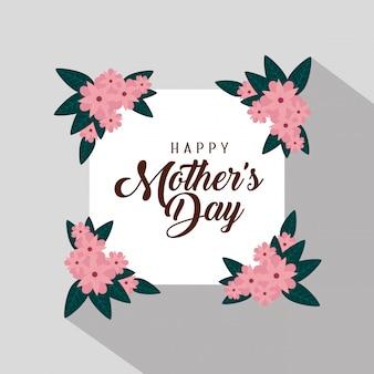 Karta z egzotycznymi kwiatami i liśćmi z okazji dnia matki