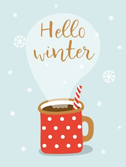 Karta z gorącym kakao i napis witaj zimą.