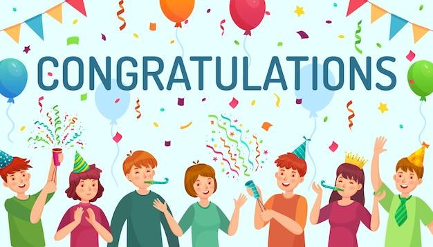 Karta z gratulacjami z dziećmi świętującymi