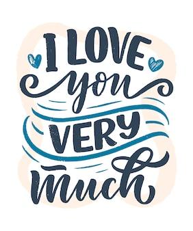 Karta z hasłem o miłości w pięknym stylu. tekst kaligrafii na walentynki.