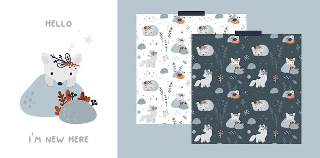 Karta z kamieniem milowym dziecka i wzór z uroczymi leśnymi zwierzętami
