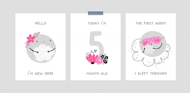 Karta z kamieniem milowym dziecka z księżycem kreskówka. karta rocznica miesiąca dziecka. chrzciny