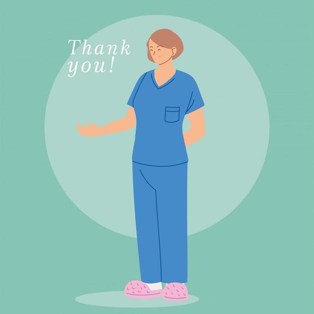 Karta z kobieta lekarz z tekstem munduru i dziękuję