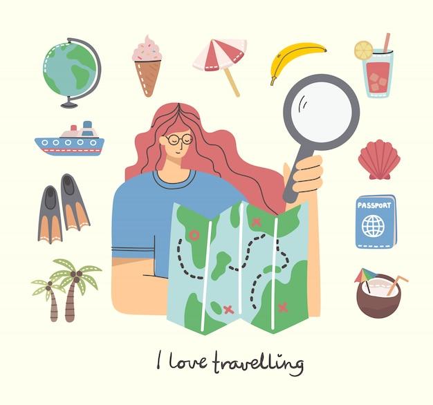 Karta z kobietą z mapą oraz obiektami i ikonami związanymi z podróżami i wakacjami. ilustracja nowoczesny styl mieszkania