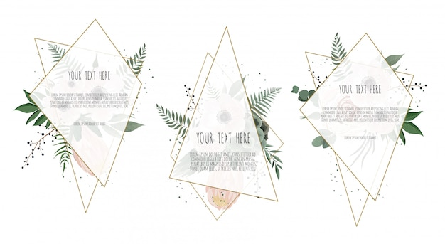 Karta z kwiatami liści i ramą geometryczną.