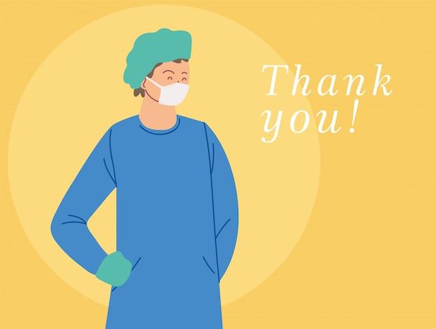 Karta z lekarzem man z jednolitą maską i tekstem dziękuję