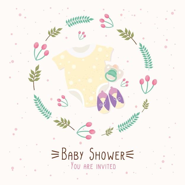 Karta z napisem baby shower z ilustracją ubrań i butów